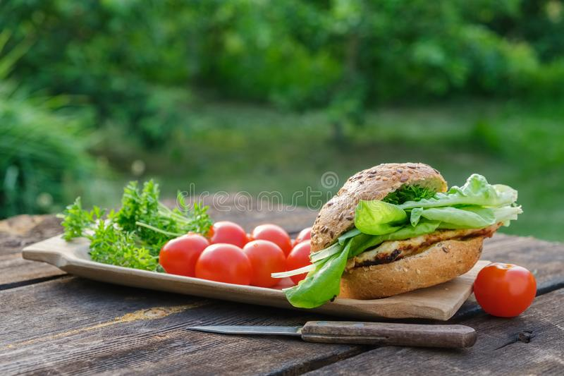 Eigengemaakte hamburger met vlees, sla, tomaten, sesambroodje op picknicklijst in tuin in openlucht stock foto