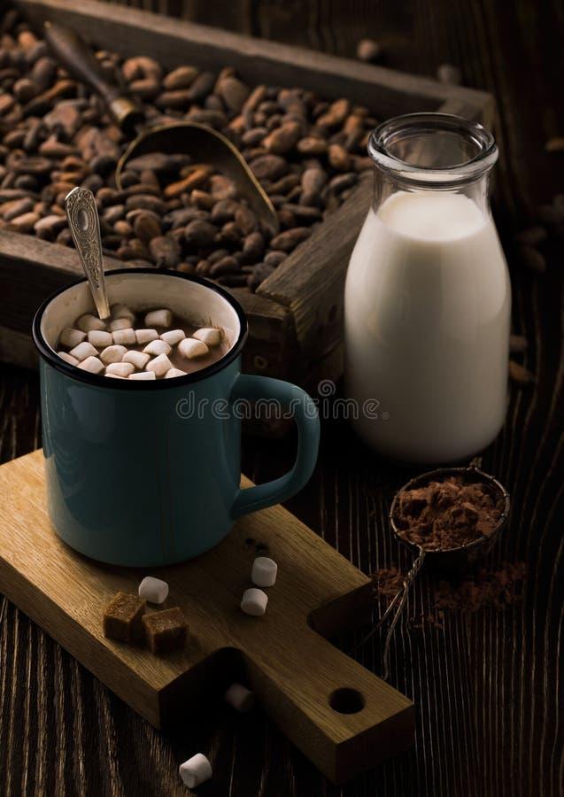 Eigengemaakte hete chocolade met heemst op ruw hout stock afbeelding
