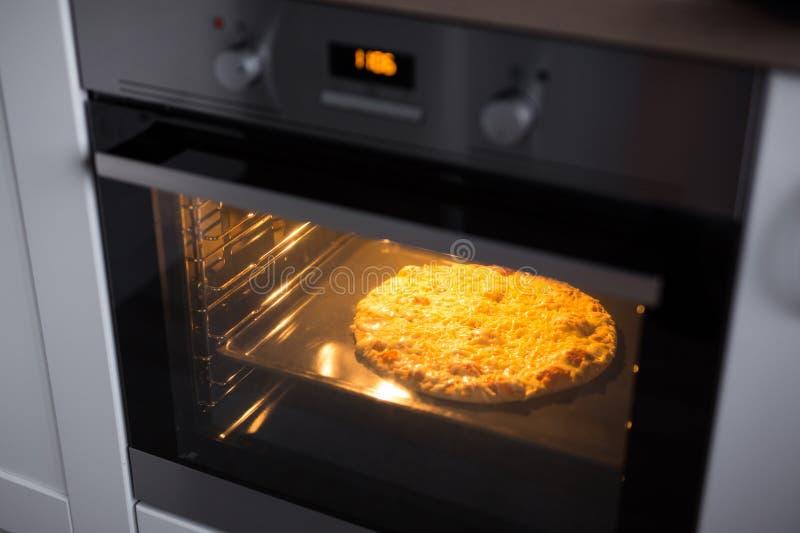 Eigengemaakte kaaspizza in oven royalty-vrije stock foto's