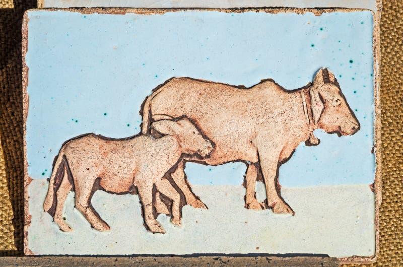 Eigengemaakte keramische tegel royalty-vrije illustratie