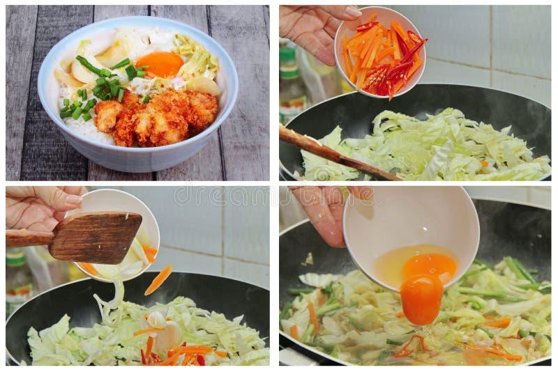 Eigengemaakte kokende zo bedekte Jasmijnrijst met gefrituurde Kip royalty-vrije stock afbeelding