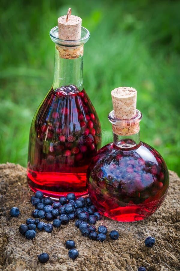 Eigengemaakte likeur in een fles met bosbessen en alcohol stock foto's