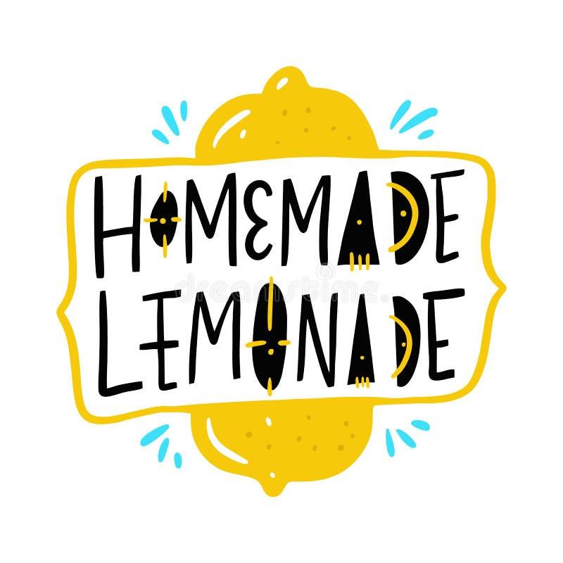 Eigengemaakte Limonade Hand het getrokken van letters voorzien Motivatiecitaat vector illustratie
