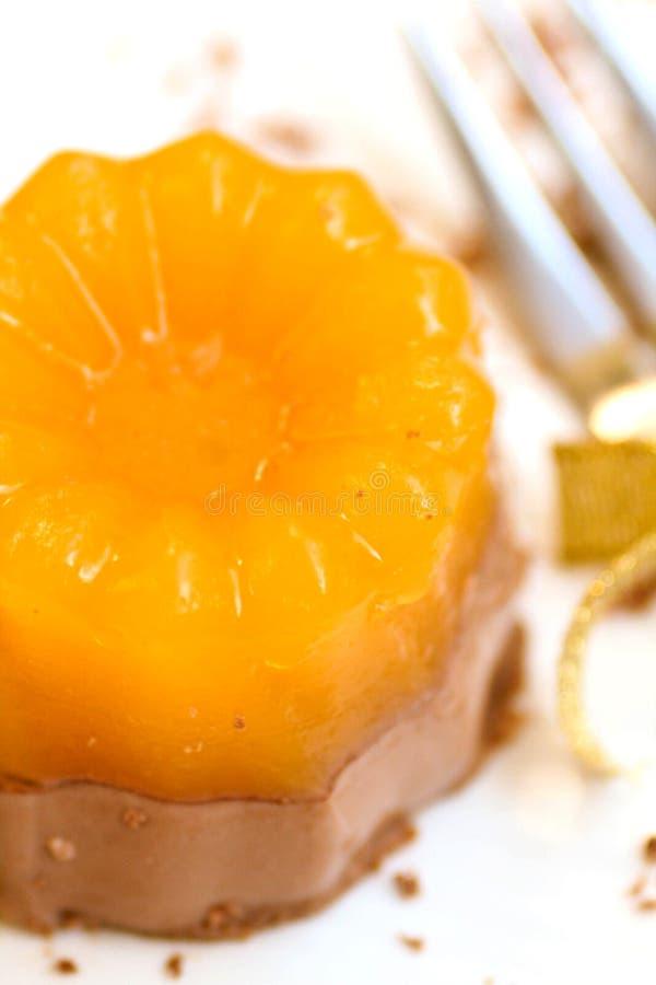Eigengemaakte oranje gelei met chocolade stock foto