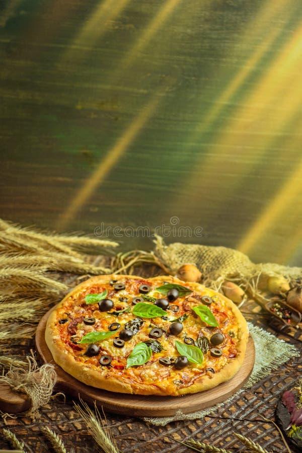 Eigengemaakte pepperonispizza met salami en kaas royalty-vrije stock afbeelding