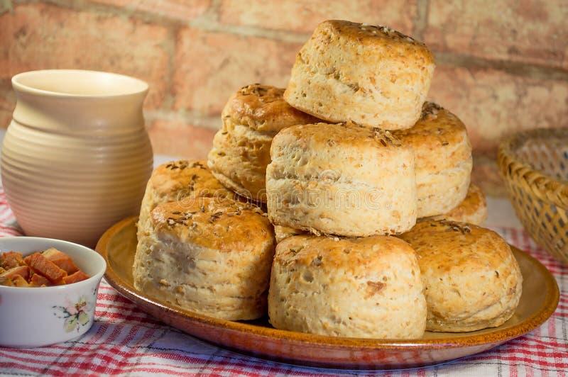 Eigengemaakte ronde zoute cakes stock foto