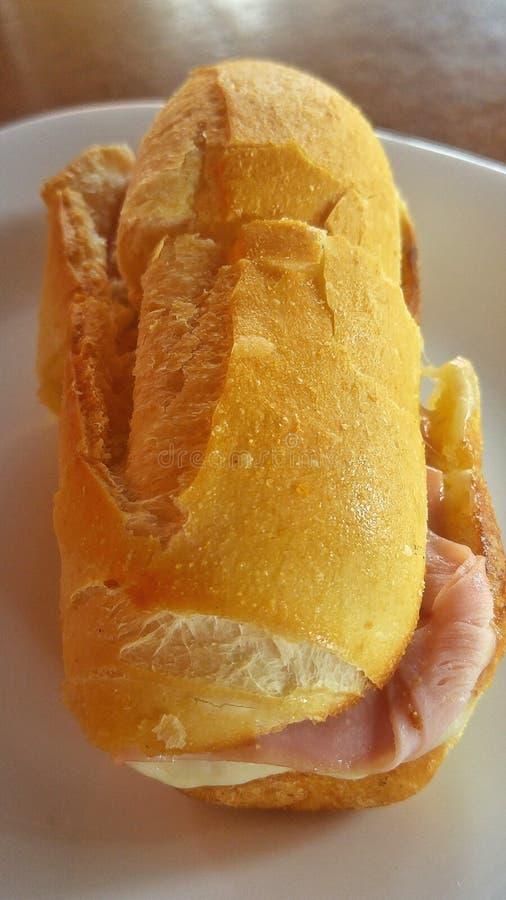 Eigengemaakte sandwich met ham en kaas royalty-vrije stock foto