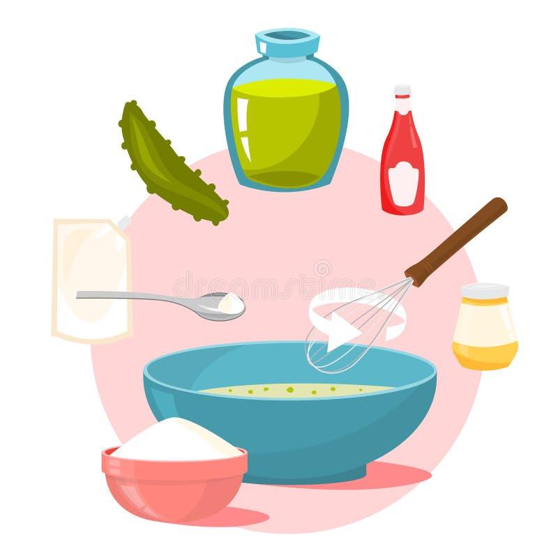 Eigengemaakte sausingrediënten Hoe te om diner te koken royalty-vrije illustratie