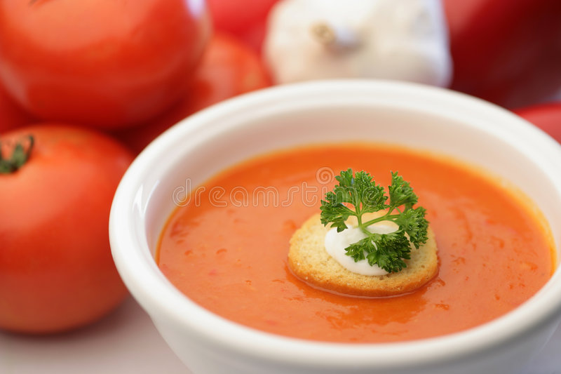 Eigengemaakte tomatensoep royalty-vrije stock foto's