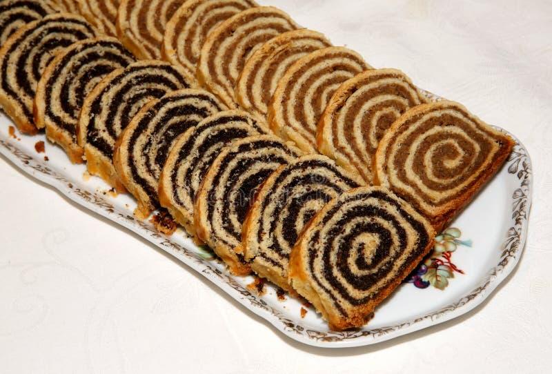Eigengemaakte traditionele Hongaarse Kerstmiscake stock foto