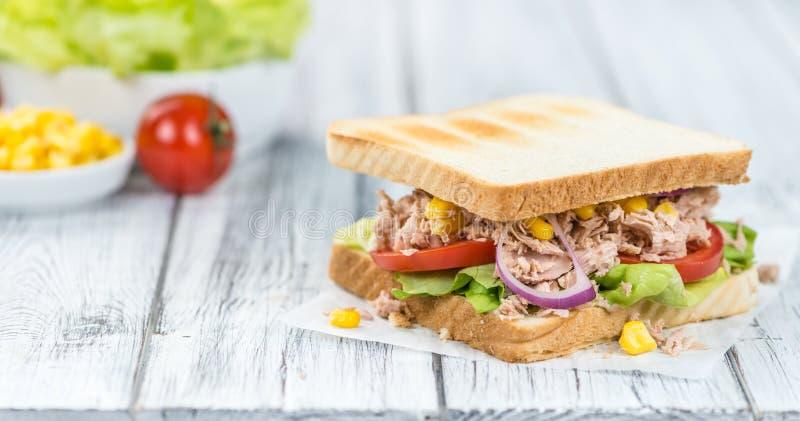 Eigengemaakte Tuna Sandwich (selectieve nadruk) royalty-vrije stock foto's
