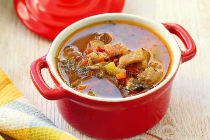 Eigengemaakte vegetarische champignonsoep met groenten klaar voor diner stock fotografie