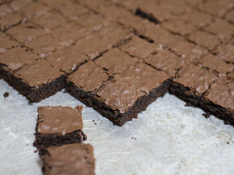 Eigengemaakte vierkante brownies royalty-vrije stock fotografie