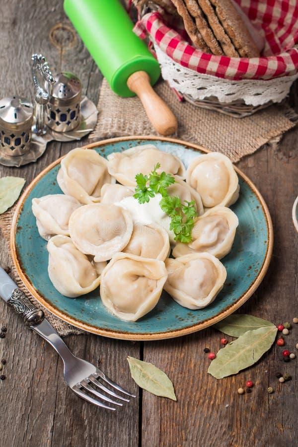 Eigengemaakte Vleesbollen - Russische pelmeni royalty-vrije stock foto