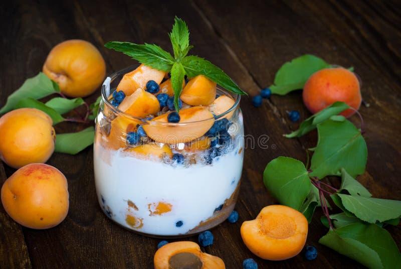 Eigengemaakte yoghurt met bessen royalty-vrije stock afbeelding