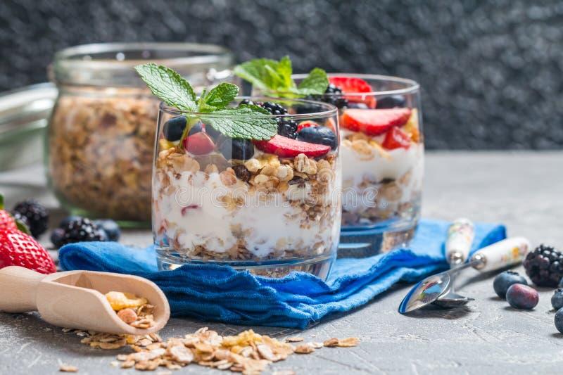Eigengemaakte yoghurt met gebakken granola royalty-vrije stock foto's