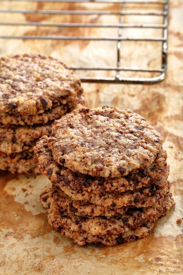 Eigengemaakte zandkoekkoekjes met donkere chocolade royalty-vrije stock foto's