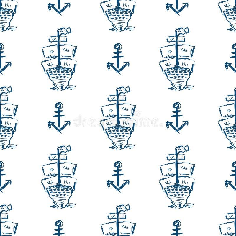 Eigenhändig gezeichnet verankern Sie und hintere Ansicht des Segelschiffs Stilvolles Seenahtloses Muster Skizze, Schmutz, Gekritz stock abbildung