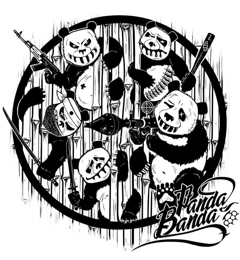 Eigenhändig zeichnen Rache von Pandas Stilisierte Charaktere der Karikatur Abbildung stock abbildung