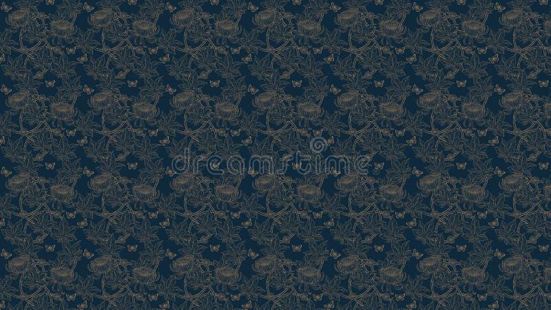 eigenhändig zeichnendes Chrysanthemenmuster lizenzfreie stockfotografie