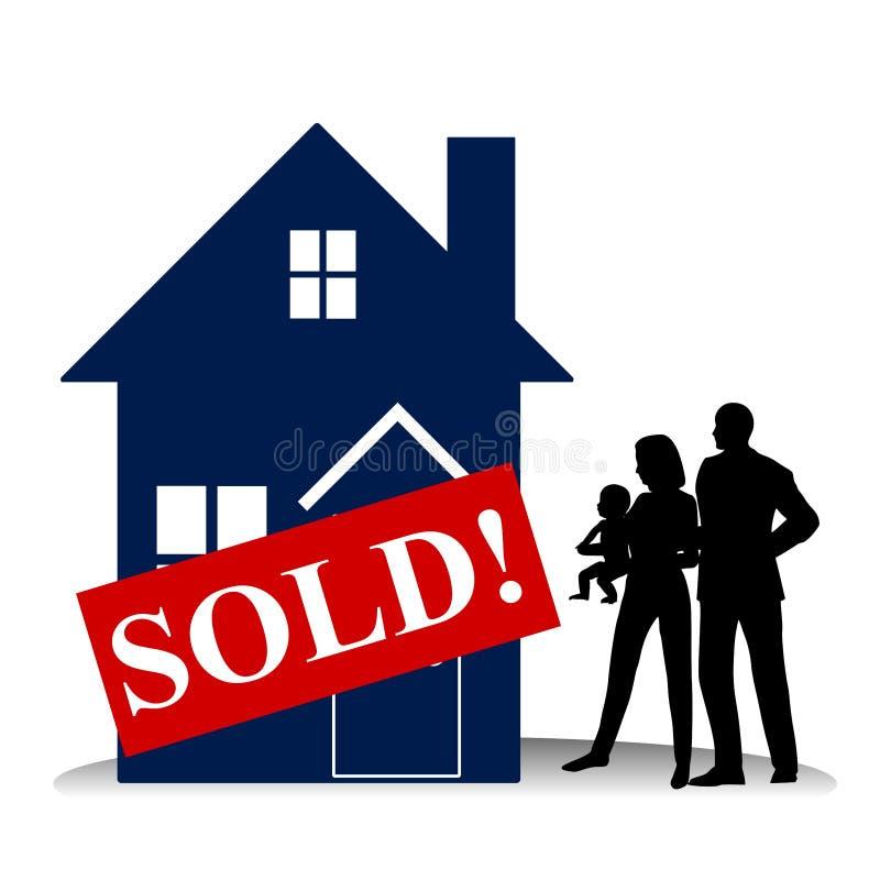 Eigenheimkäufer-Familien-erstes Haus lizenzfreie abbildung