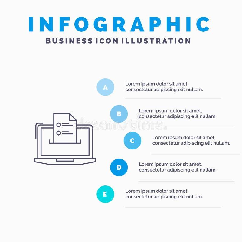 Eigenschaften, Geschäft, Computer, on-line, Zusammenfassung, Fähigkeiten, Netz-Linie Ikone mit Hintergrund infographics Darstellu stock abbildung