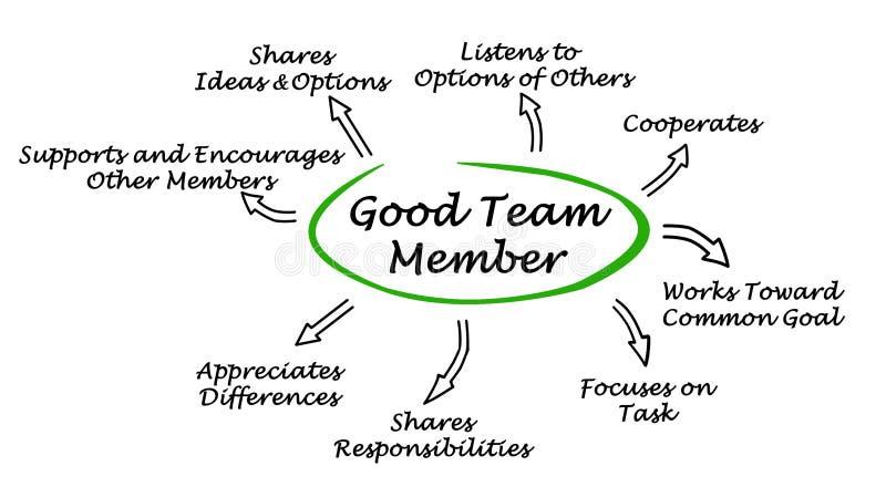 Eigenschaften von gutem Team Member lizenzfreie abbildung