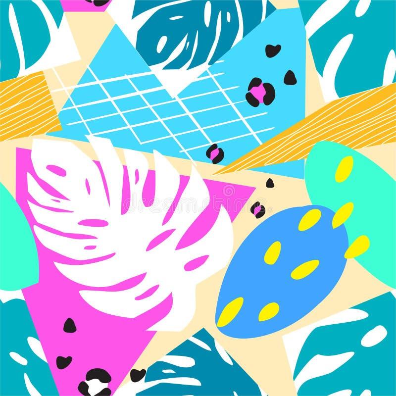 Eigentijds abstract bloemen naadloos patroon Moderne exotische tropische installaties Vector gekleurd ontwerp royalty-vrije illustratie