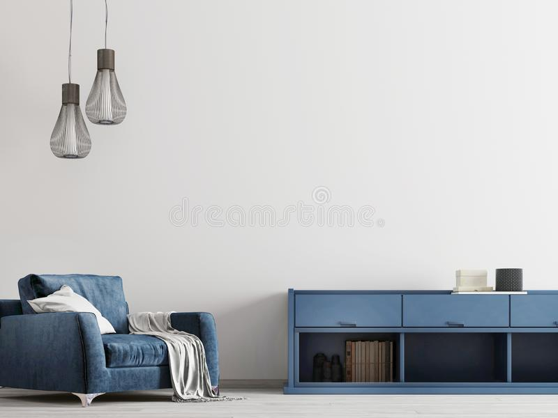 Eigentijds binnenland met blauw meubilair met onechte omhoog tmpty muur stock illustratie