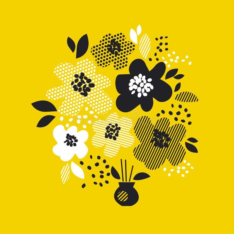 Eigentijds de lente bloemenontwerp met gele abstracte bloemen moderne meetkunde vectorillustratie vector illustratie