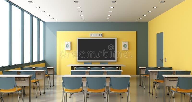 Modern Classroom Teacher ~ Eigentijds leeg klaslokaal stock illustratie