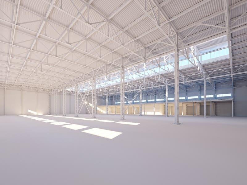 Eigentijds leeg wit die pakhuis door zonlicht 3d illustratie wordt verlicht vector illustratie