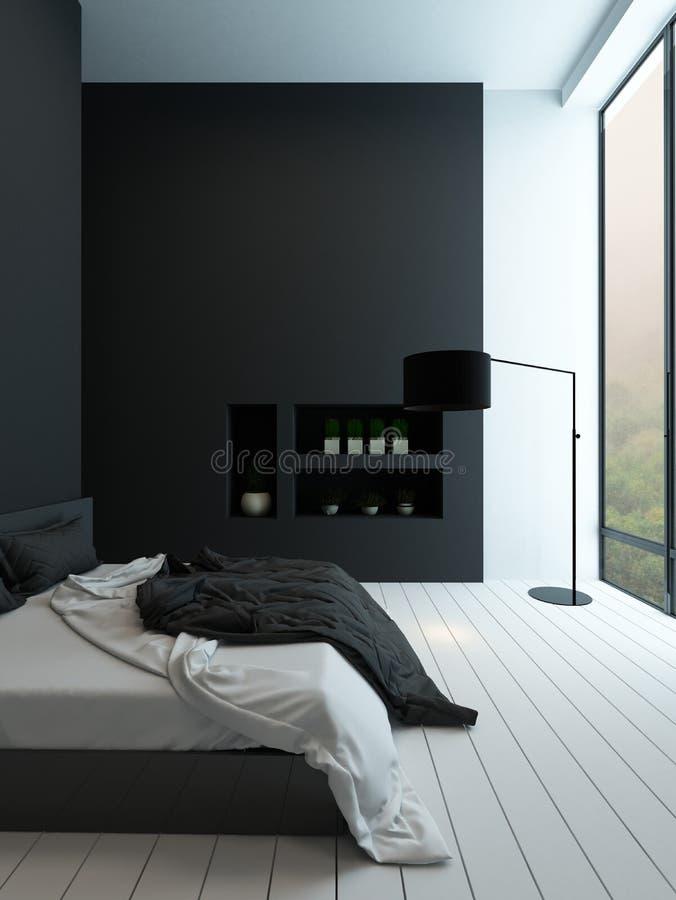 Eigentijds zwart-wit slaapkamerbinnenland stock fotografie