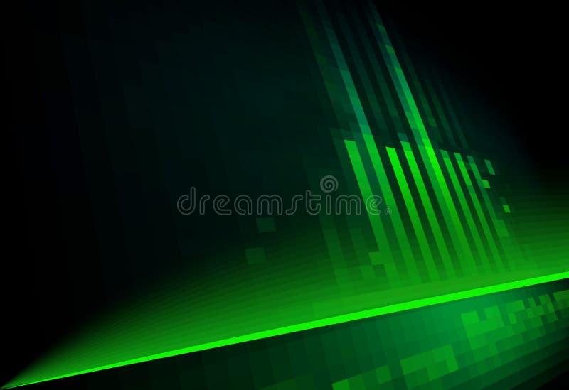 Eigentijdse architectuur Groen op zwarte stock illustratie