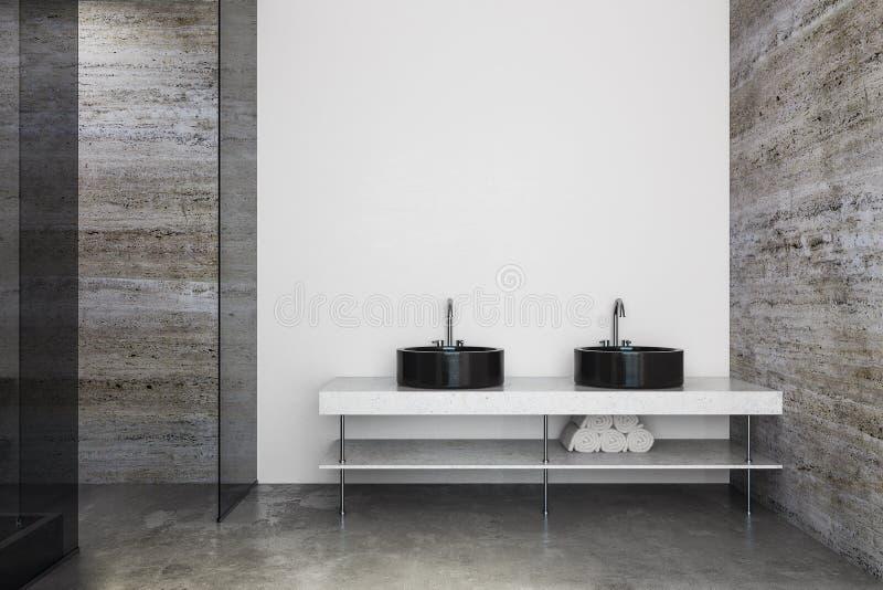 Eigentijdse badkamers met gootstenen en copyspace stock illustratie