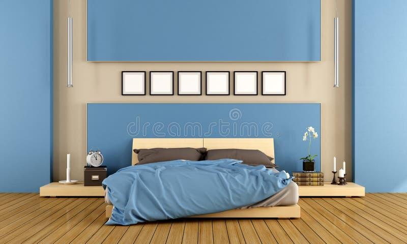 Eigentijdse Blauwe Slaapkamer Stock Illustratie - Illustratie ...