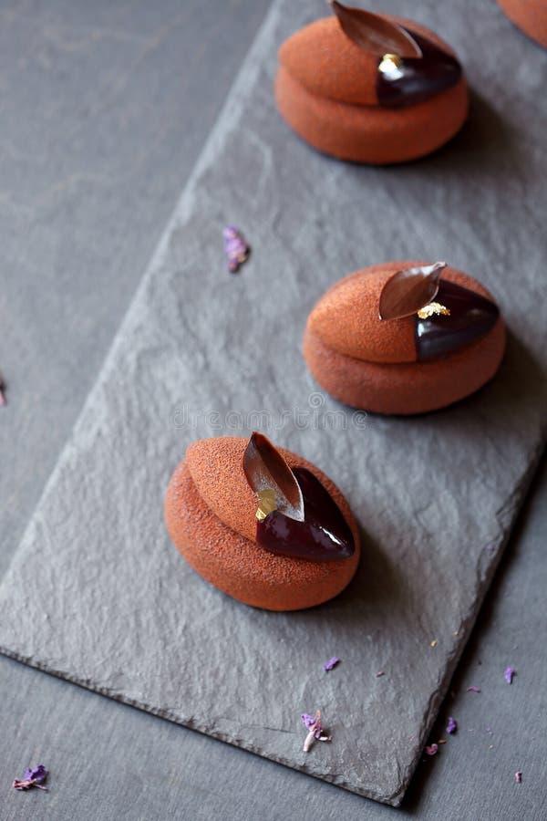 Eigentijdse Chocolade Violet Mousse Mini Cakes royalty-vrije stock afbeeldingen