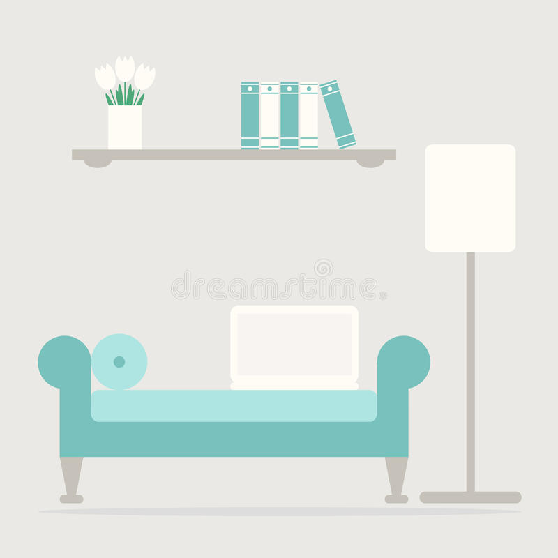 Eigentijdse het werkplaats in de woonkamer stock illustratie