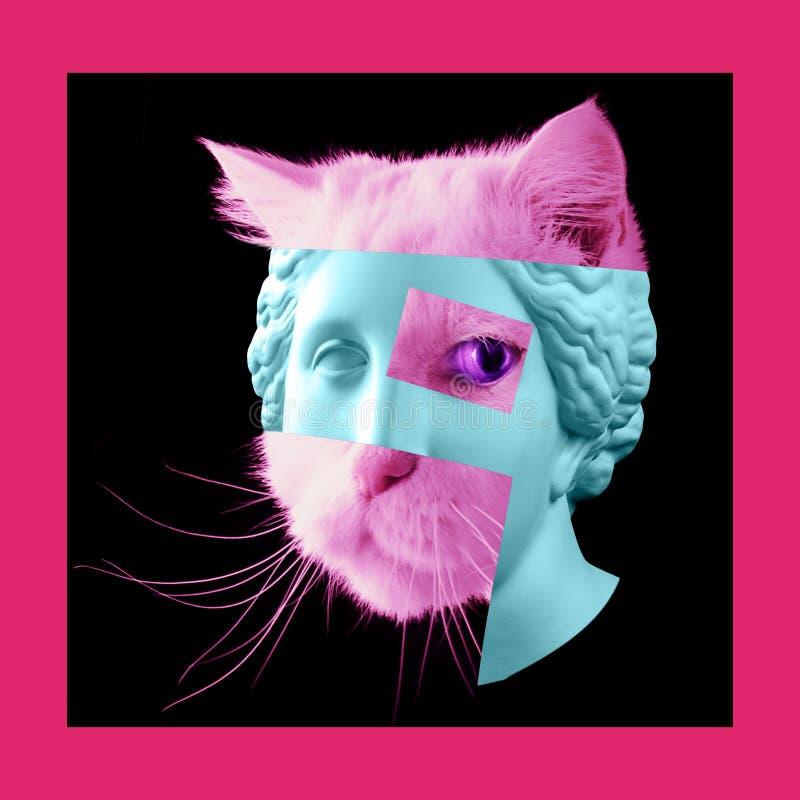 Eigentijdse kunstaffiche met oud standbeeld van Venushoofd en details van het gezicht van een het leven kat royalty-vrije stock fotografie