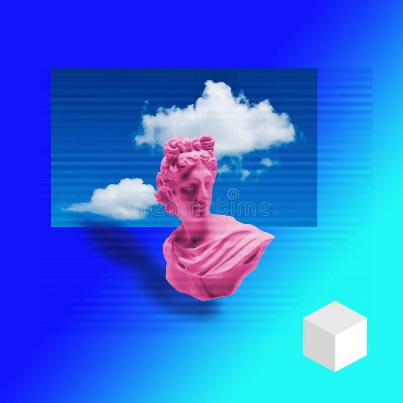 Eigentijdse kunstcollage van Apollon-beeldhouwwerk zine stock illustratie