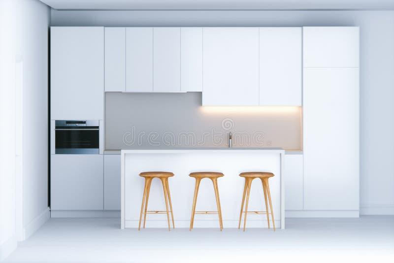 Eigentijdse minimalistic keuken in nieuw wit binnenland royalty-vrije illustratie
