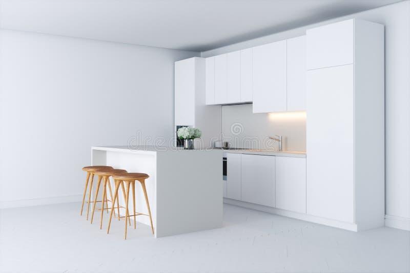 Eigentijdse minimalistic keuken in nieuw wit binnenland stock foto's
