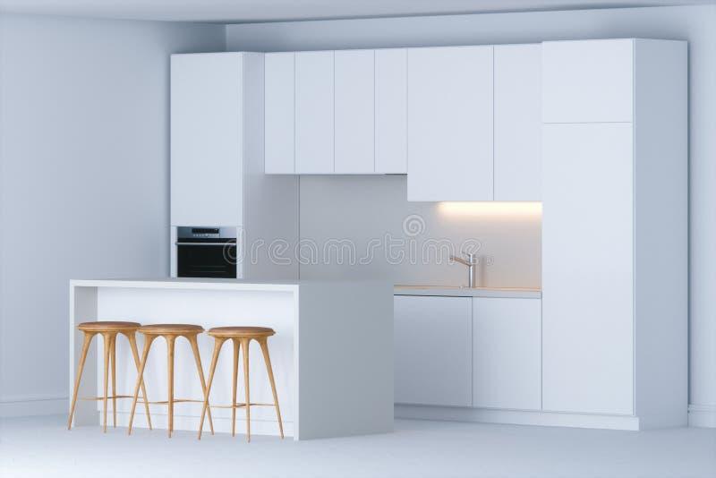 Eigentijdse minimalistic keuken in nieuw wit binnenland royalty-vrije stock fotografie