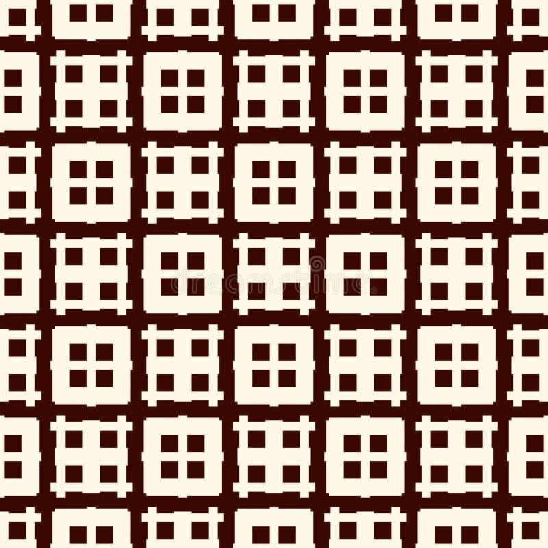 Eigentijdse oppervlaktetextuur met abstracte de bouwvoorgevel Venstersmotief Naadloos patroon met vierkanten en lijnen stock illustratie
