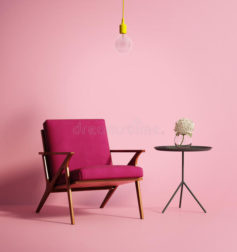 Eigentijdse roze phuxleunstoel stock afbeelding