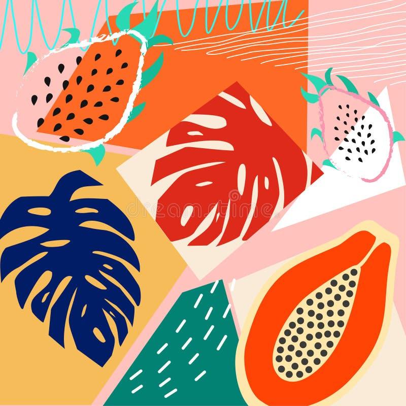 Eigentijdse samenvatting gekleurde achtergrond Moderne exotische tropische installaties en vruchten Vector ontwerp royalty-vrije illustratie