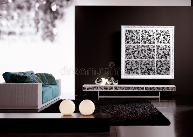 Eigentijdse woonkamer stock foto's