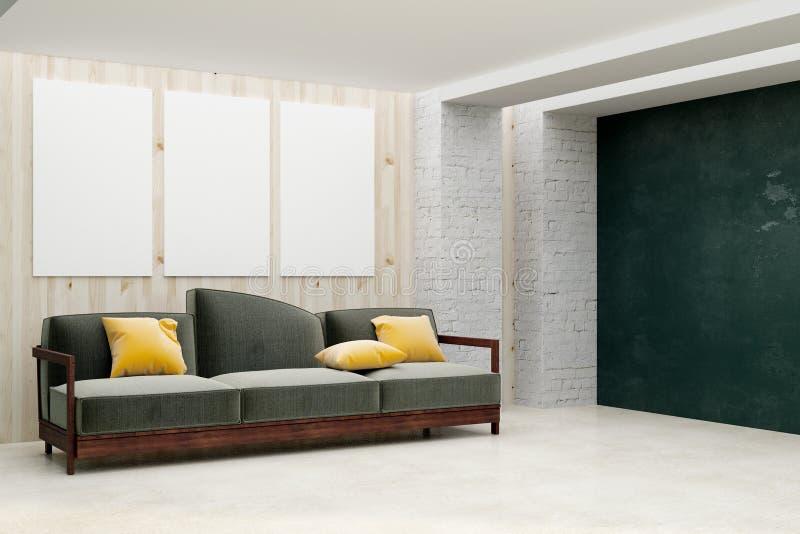 Eigentijdse woonkamer met leeg aanplakbord stock illustratie