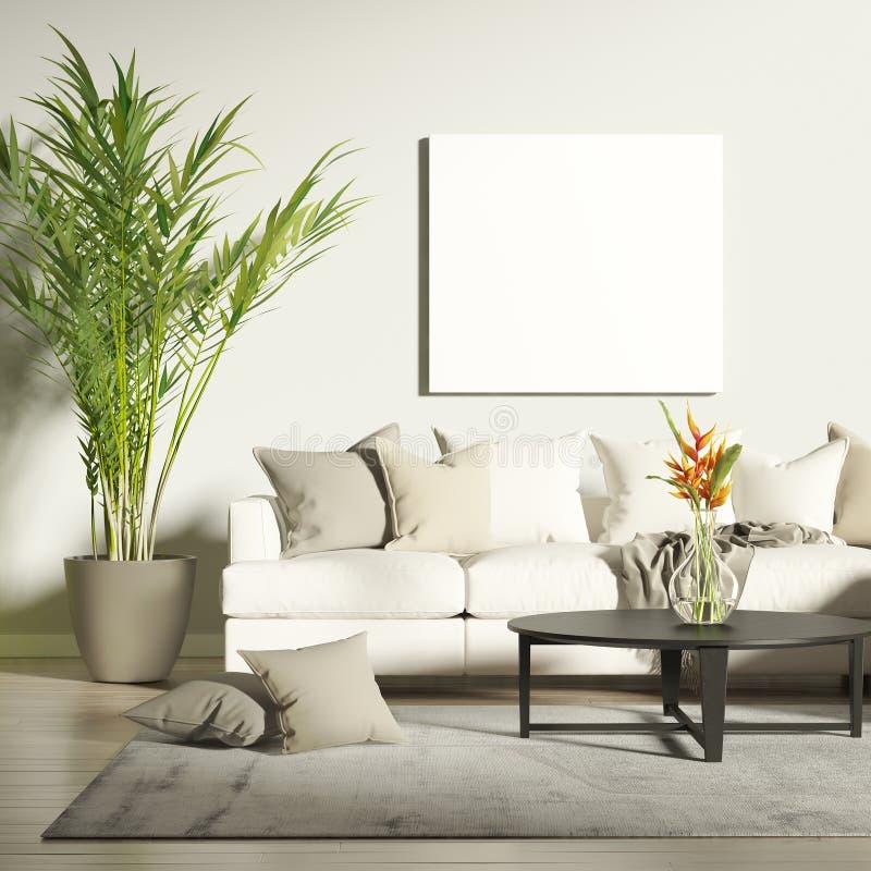 Eigentijdse woonkamer met spot op affiche stock fotografie