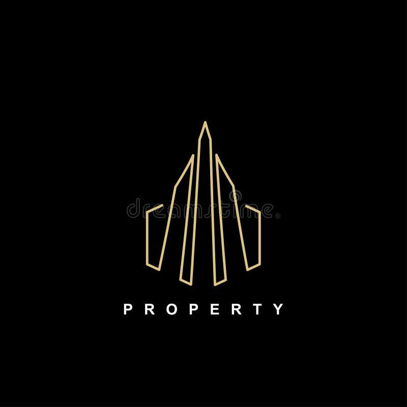 Eigentumsikonengebäudesymbollogoschablonen-Goldfarben auf dunkler Hintergrundvektorillustration vektor abbildung
